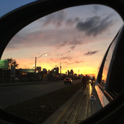 Toronto rearview sunset.