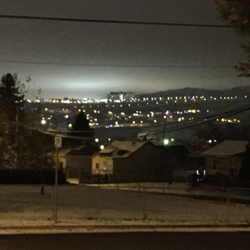 Lights Reflecting in low clouds at TRU campus