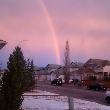 rainbow over Cochrane, AB