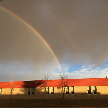 Double rainbow over school 30 seconds before rain started!