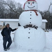 """Koolar"" the Snowman in Morson, ON"