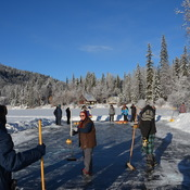 New Year's Day lake curling
