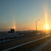 Sunrise over Bolton Ontario with a rainbow