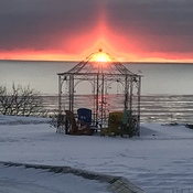 December sunrise over Lake Erie