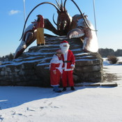 Mr and Mrs Claus visiting Irishtown Park., and Shediac NB.