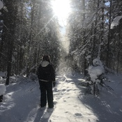 Breaking a new snowshoe trail