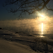 A cold sunrise in Amherstview this morning. Lake Ontario, Fairfield Park.