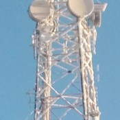 Cell tower is dripping with icicles