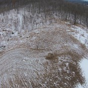 Drone view snowy field, trails, forest