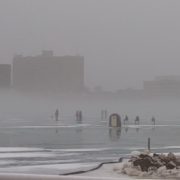 foggy afternoon Sarnia Bay
