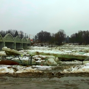 Ice Jams at Freeport Bridge Grand River today