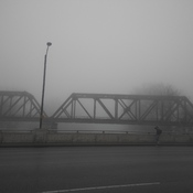 Fog over the Oxford Street Railroad bridge