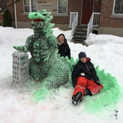 Godzilla in yard promise made