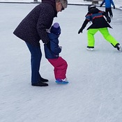 Skating with great-granddaughter