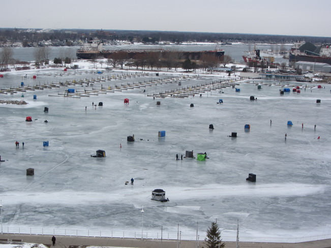 Ice Fishing on Sarnia Bay Sarnia, ON