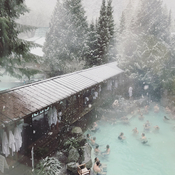 Fluffy snow at hot spring