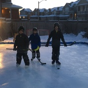 Backyard family day hockey