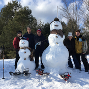 Family Day fun building snowmen