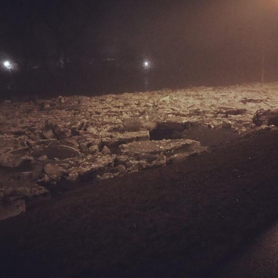 Ice over highway 24 in Cambridge Galt, Ontario, CA
