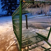 Icicles on shopping cart