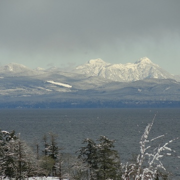 Snow capped mountains mainland Vancouver, B.C.