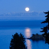 Evening moon over Hammond Bay