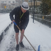 A true B.C. resident shoveling in shorts 😉