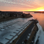 Sunrise on the frozen Cornwall marina