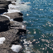 Ice,lake ,rocks,sun