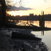 sunset over fraser river
