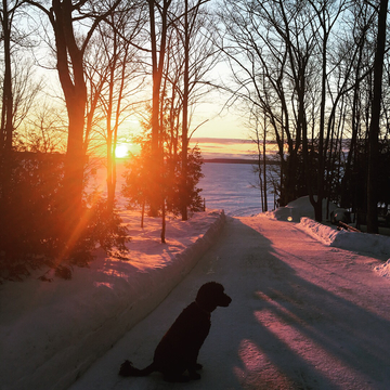 Sun coming up on Lake Manitou
