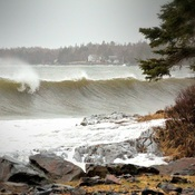 Rissers Beach During Storm Surge
