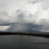 Hail shower over Lasqueti Island