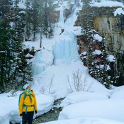 Small frozen waterfall at the end of the Lake Louise.