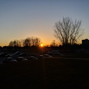 Beautiful sunset across the parking lot