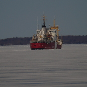 THE TRACK FROM THE ICE CUTTING COAST GUARD STILL NOT MELTED