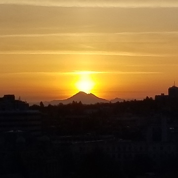 Sunrise above Mount Baker at 6:15 AM on April 24 2018 from Victoria, BC