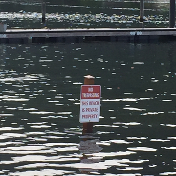 "Lol you got flooded by river water! ""No trespass on BEACH!"""