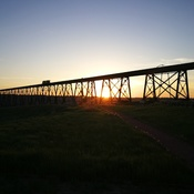 Twilight over the bridge in Lethbridge