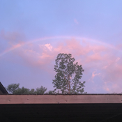 Rainbow at dawn in Baden, Ontario