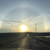Complete sun dog. Never seen this before!! Especially in the summer!!