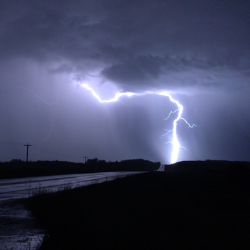 Lightning east of Red Deer
