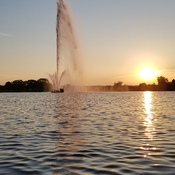 fountain sunset