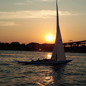 sunset and sails under the Bridge