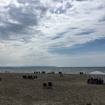 Clouds are clearing out at Wasaga Beach.