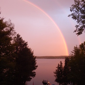 Beautiful rainbow over Dalhousie Lake just before sunset last evening.