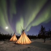 Moon, Aurora and Teepees