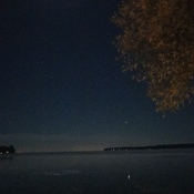 Clear night, clear lake.