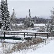 Snow covered bridge, Elliot Lake.