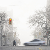 Misty morning in downtown Windsor, Ontario